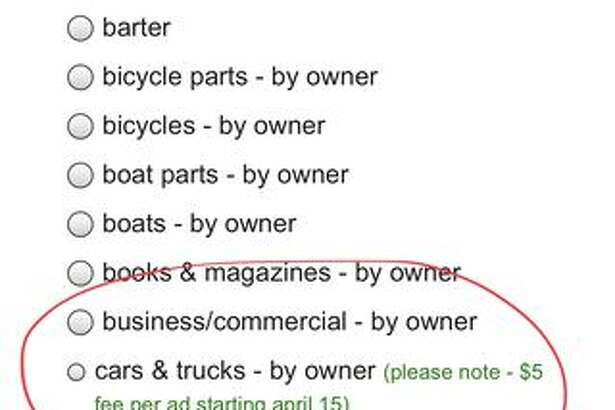 "If you go to list a car or truck by owner, a message on the side of the selection box reads ""please note - $5 fee per ad starting April 15."" The news first appeared on Reddit, and I was able to find the message myself when going through the listing process."