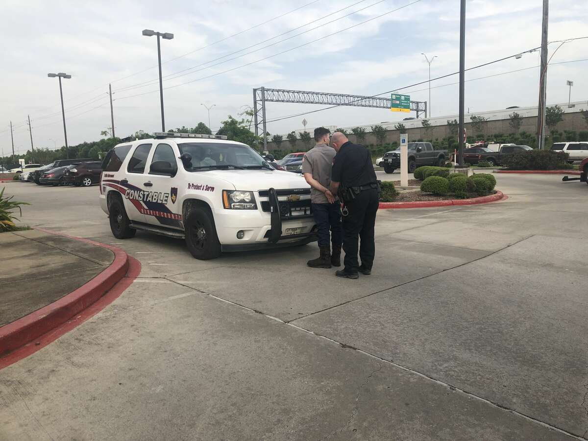 The driver stopped for allegedly failing to pay a toll Thursday on the North Sam Houston Parkway was found to have an illegal license plate flipper, according to the Harris County Precinct 4 Constable's Office.