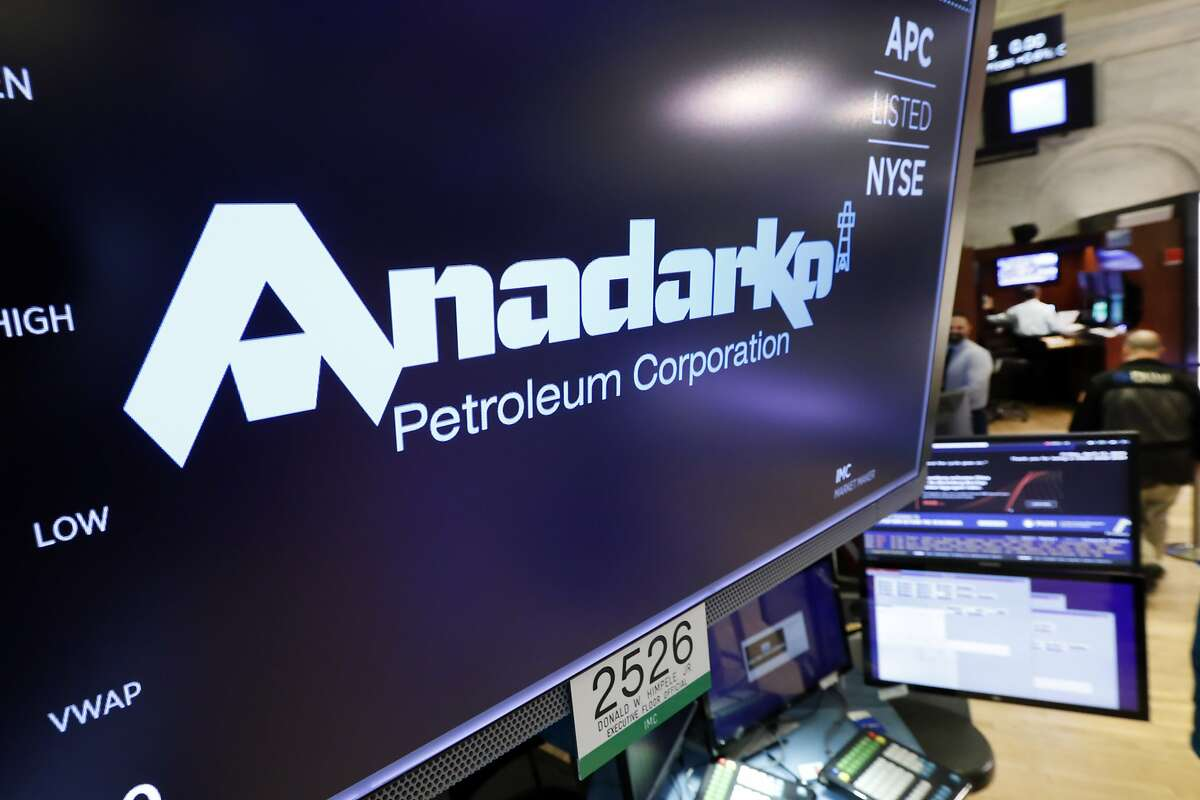 The logo for Anadarko Petroleum Corp. appears above a trading post on the floor of the New York Stock Exchange, Friday, April 12, 2019. Chevron said it would pay $33 billion to buy rival Anadarko Petroleum.