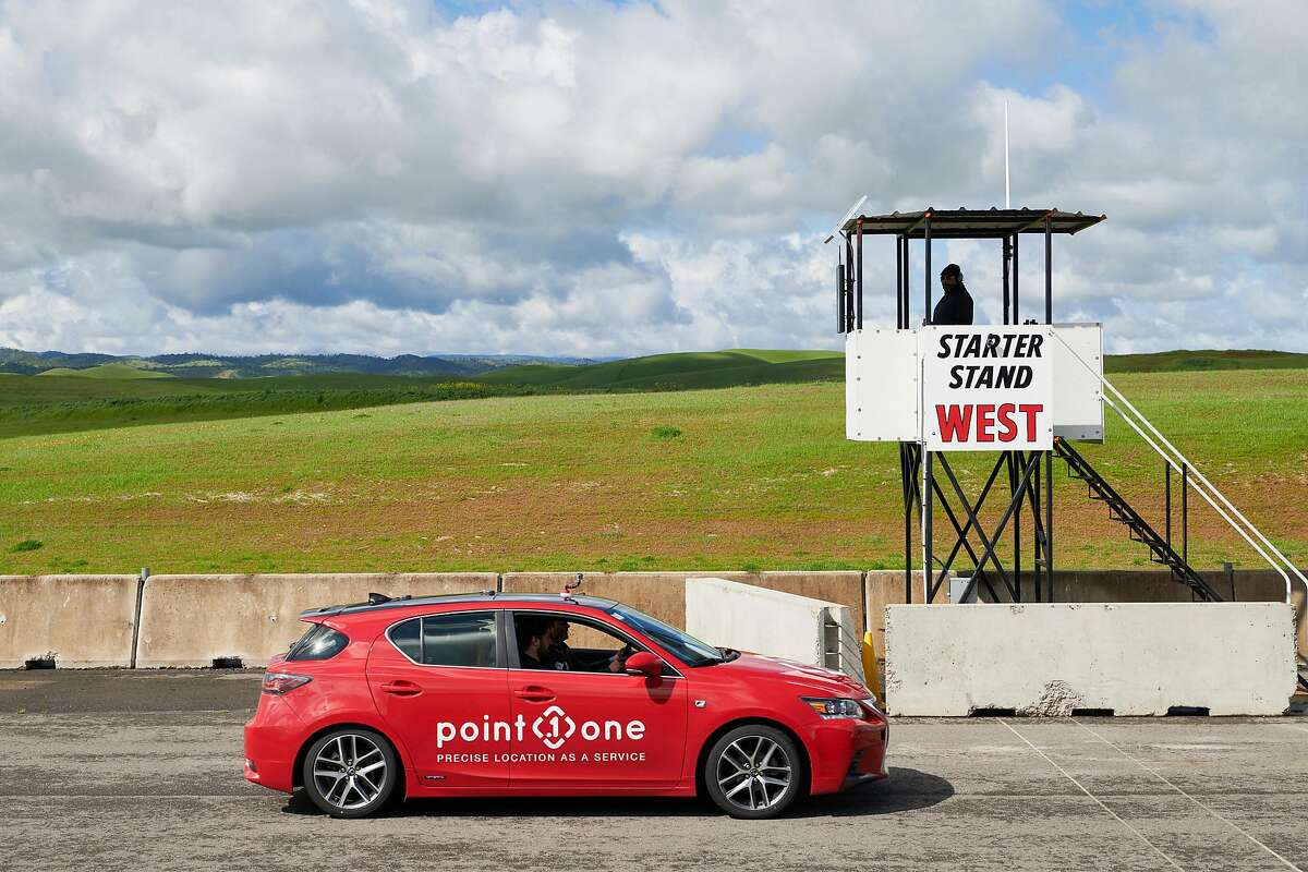 A Lexus CT200h fielded by Point One Navigation, during Self Racing Cars, an annual open-track event for autonomous vehicles, in Willows, Calif., March 23, 2019. A racetrack veteran compares the Self Racing Cars contest to hot-rod modders of old:
