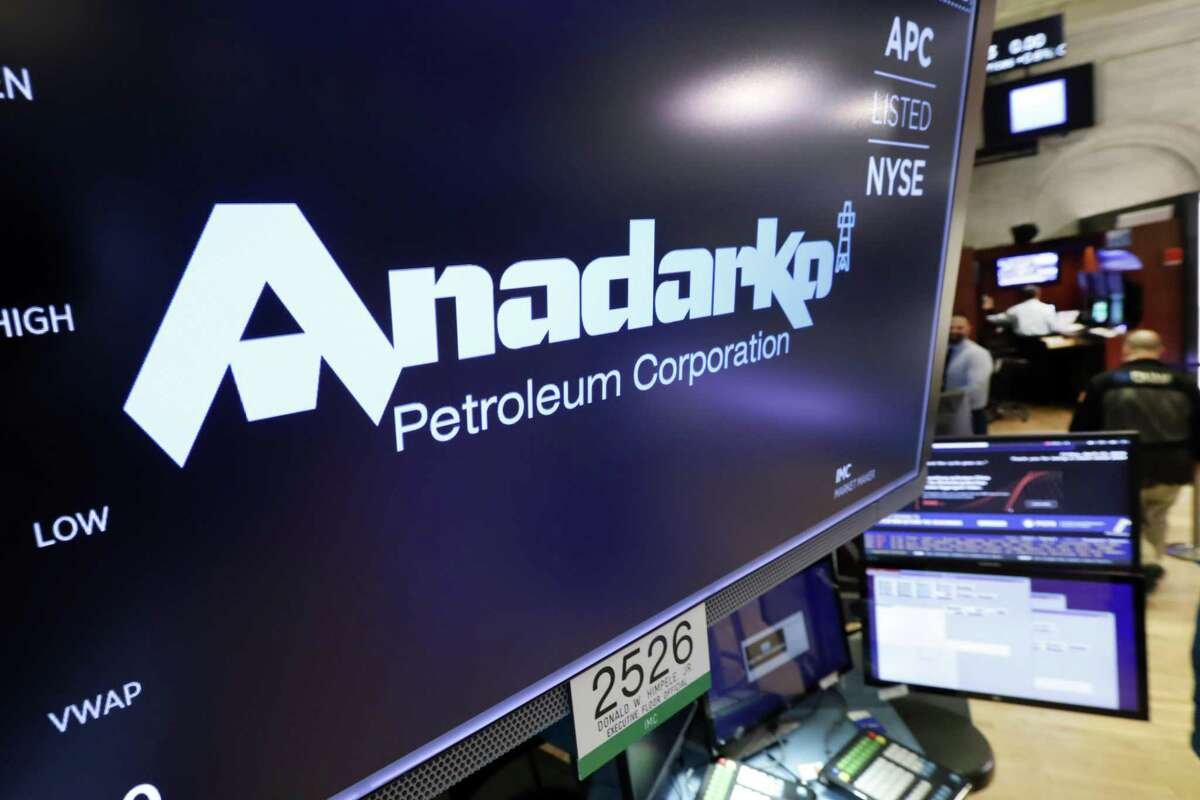 The logo for Anadarko Petroleum Corp. appears above a trading post on the floor of the New York Stock Exchange, Friday, April 12, 2019. NEXT: See recent earnings reports from Houston-area energy companies.