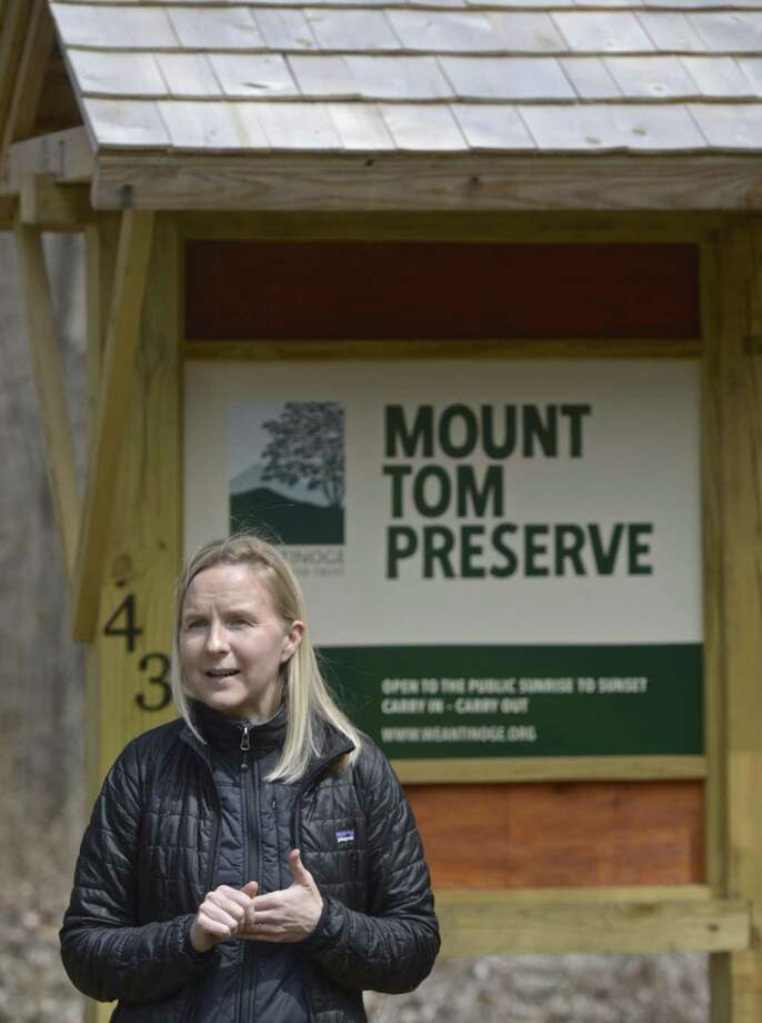 Weantinoge Heritage Land Trust Executive Director Catherine Rawson speaks at the reopening of the group's Mount Tom Preserve on Thursday afternoon after significant improvements. Thursday, April 11, 2019, New Milford, Conn. Photo: H John Voorhees III / Hearst Connecticut Media / The News-Times