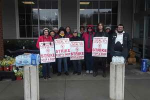 Union 371 Stop & Shop employees picket outside the store in Litchfield Friday afternoon.