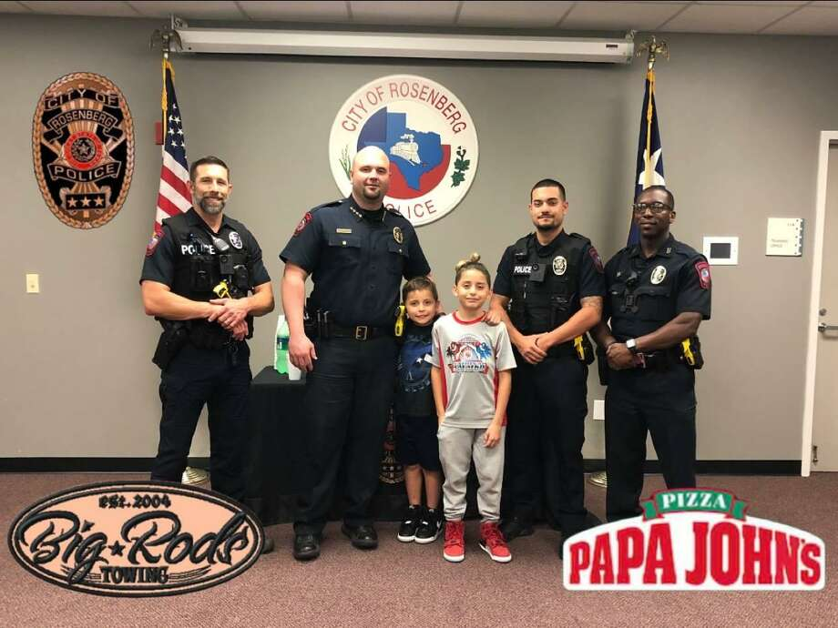 The Rosenberg Police Department hosted a youth and his brother on Thursday, April 11. The youth was previously captured on video on April 4 wherein he watched as a brazen thief stole the youth's bicycle as he stood by and watched. Photo: Rosenberg Police Department