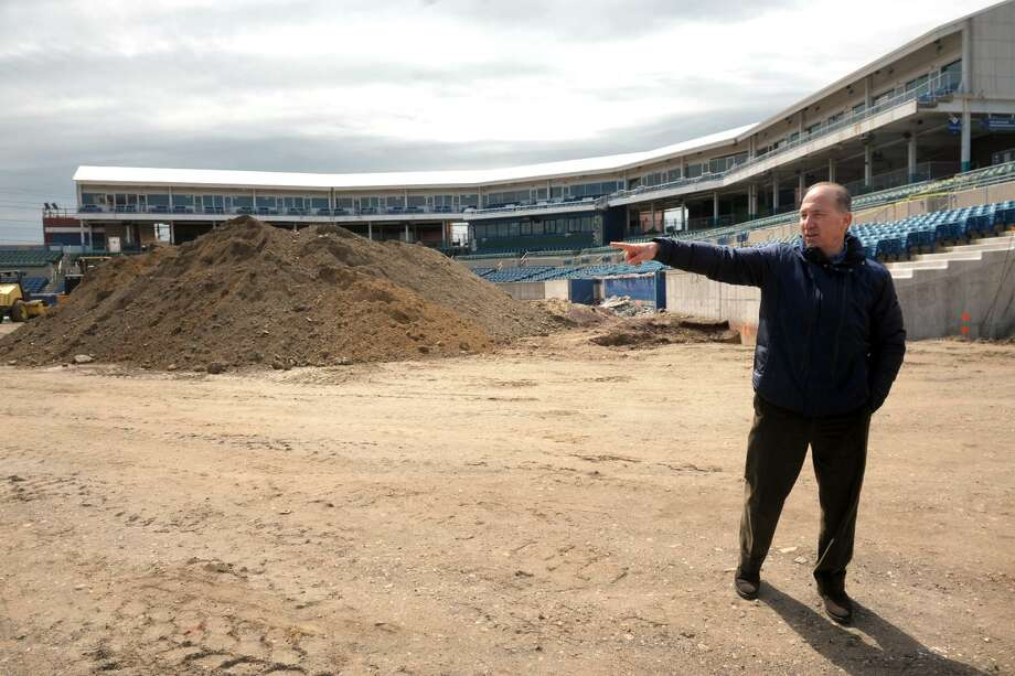 Developer Howard Saffan leads a tour of the former Harbor Yard baseball stadium, which he is currently renovating into the new Harbor Yard Amphitheater, a concert venue in Bridgeport, Conn. April 11, 2019. Photo: Ned Gerard / Hearst Connecticut Media / Connecticut Post