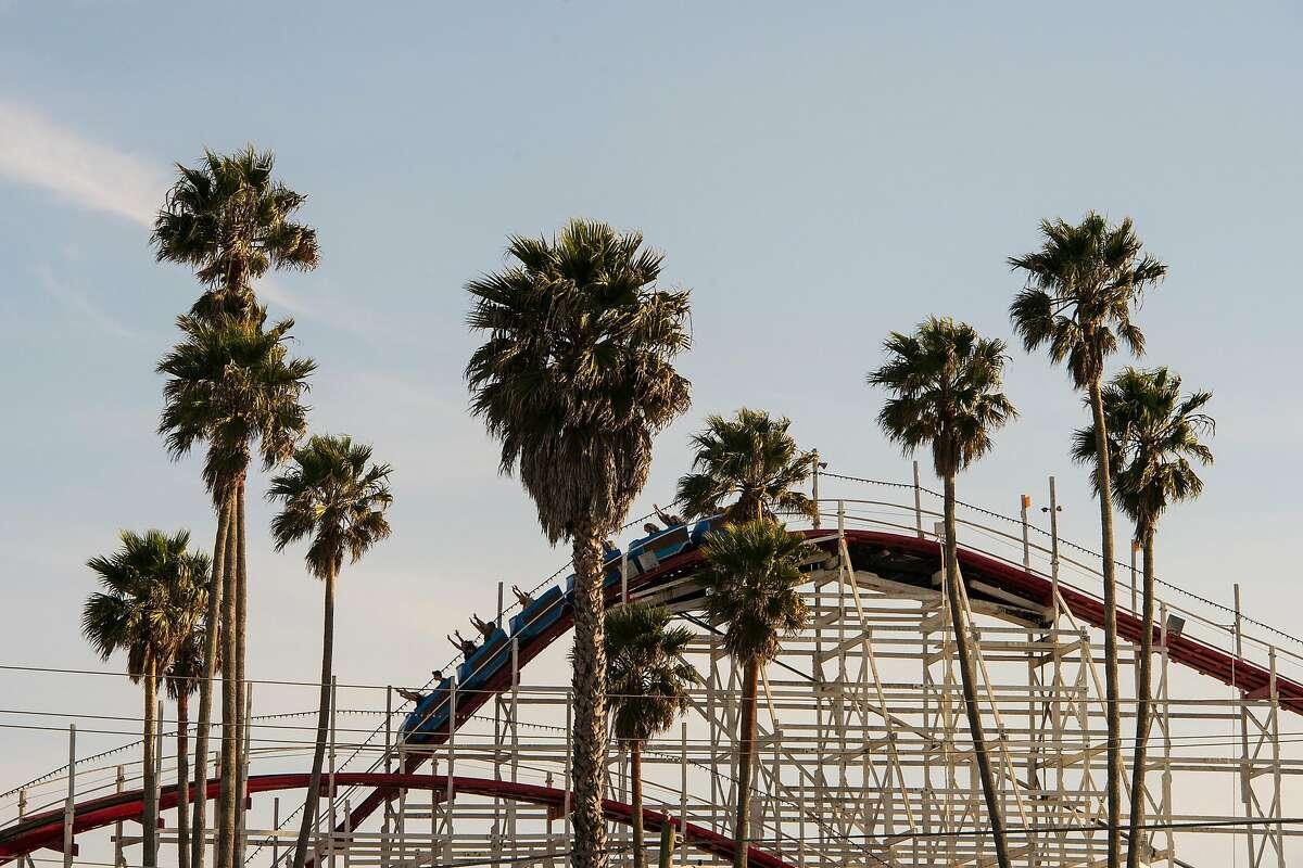 The Giant Dipper roller coaster at Santa Cruz Beach Boardwalk in Santa Cruz, Calif. on April 7, 2019.