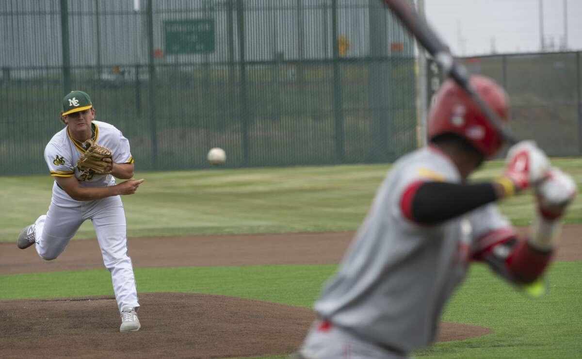 Midland College's starting pitcher Dawson Merryman delivers a pitch to NMJC's Soterio Ramirez 04/12/19 at Christensen Stadium. Tim Fischer/Reporter-Telegram