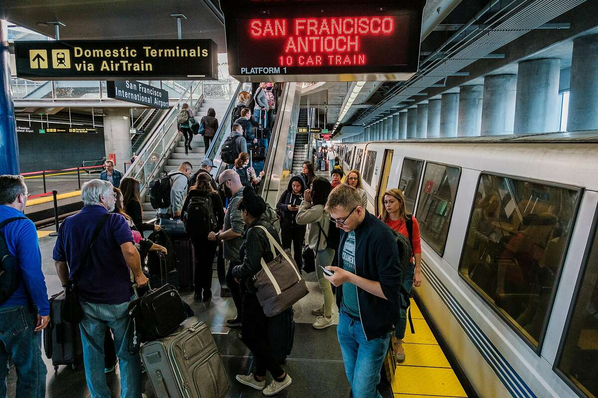 April 12, 2019 - People can be seen at the SFO BART station. BART�s state of emergency and the exit of its general manager on Thursday come amid a new pressure: concern over homeless people evading fare on trips to SFO, where they take shelter in the terminals. (Nick Otto Special to the Chronicle)