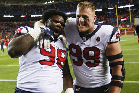 J.J. Watt, right, and D.J. Reader are among the returnees for a Texans defensive line that basically returns intact from the 2018 season.
