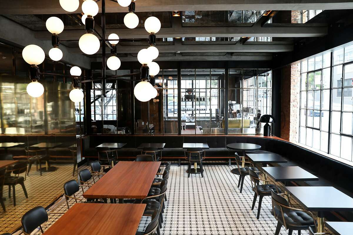 View of the banquette of Dandelion's brand-new chocolate factory on Thursday, April 4, 2019, in San Francisco, Calif.