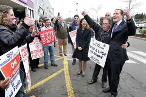 Lt. Governor Susan Bysiewicz (center) and U.S. Senator Richard Blumenthal (right) join striking workers at the Dixwell Avenue Stop & Shop in Hamden on April 12, 2019.  Richie Johnson of the United Food & Commercial Workers Union Local 371 stands between Bysiewicz and Blumenthal.