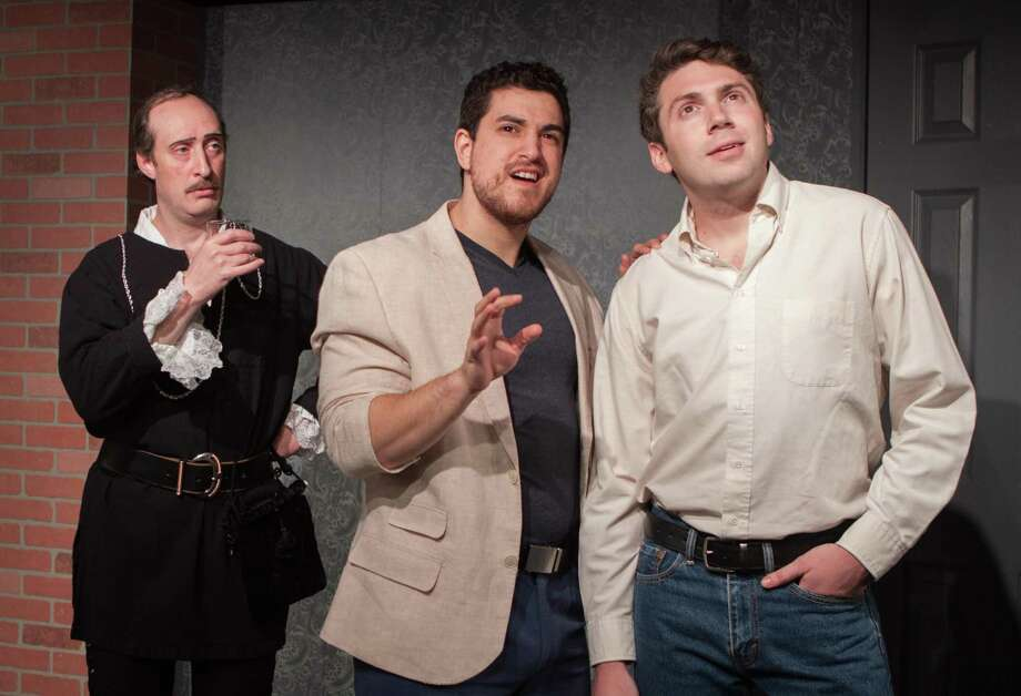 "The ghost of John Barrymore (Brian Bianco, left,) looks on as TV producer, Gary, (Chris Balestriere) tries to persuade actor Andrew Rally (Parke Stevenson) to skip ""Hamlet"" and take a sitcom job in Curtain Call's production of ""I Hate Hamlet"" playing May 2-19 in the Dressing Room Theatre in Stamford. Photo: Fotosbyfailla.com / Contributed Photo"
