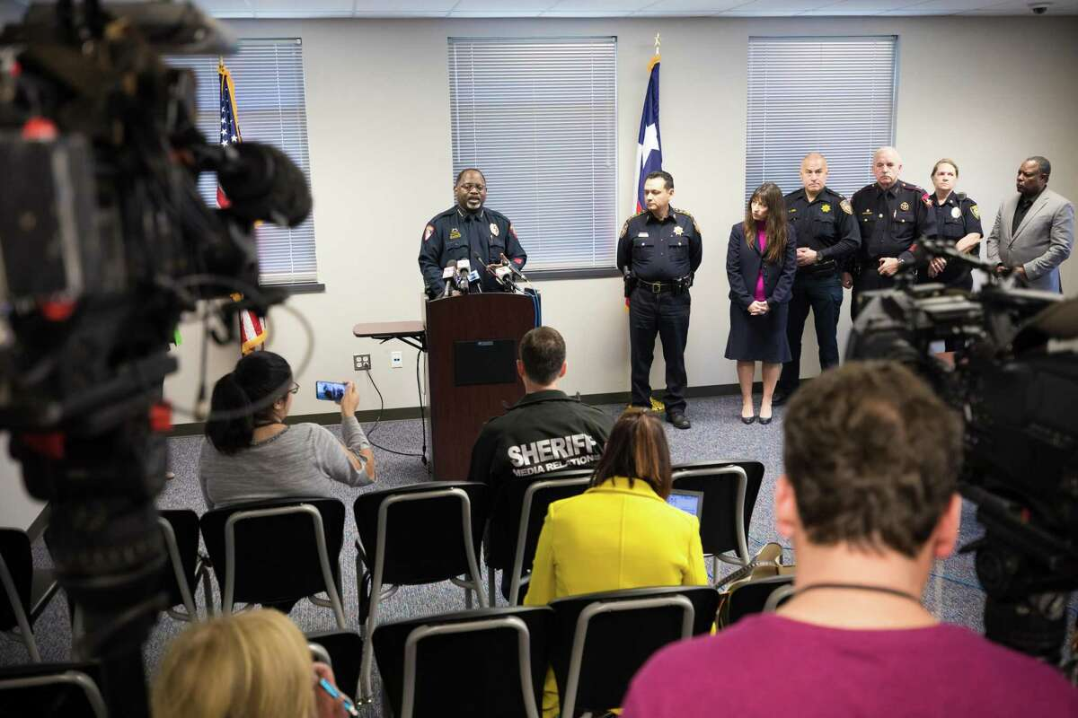 Humble ISD Chief of Police Solomon Cook speaks at a news conference Feb. 1, 2019, after a shooting in the Atascocita High School parking lot the night before.