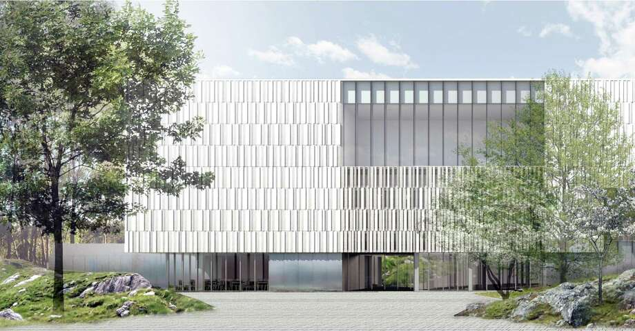 An artist's rendering shows the facade of the Bruce Museum as it will appear after the expansion project is complete. The building will open to Bruce Park and feature a façade of cast stone and glass, which is inspired by the striated walls of Connecticut's historic rock quarries. Photo: Courtesy Of The Bruce Museum /