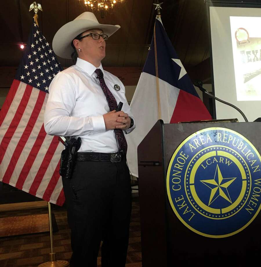 """Lt. Wende Wakeman, with the Texas Rangers, presented a program titled """"Los Diablos Tejanos,"""" that addressed issues such as border security and other areas that are maintained by the Texas Rangers, to the members of Lake Conroe Area Republican Women at their April meeting at Walden Yacht Club. Photo: Courtesy Photo"""