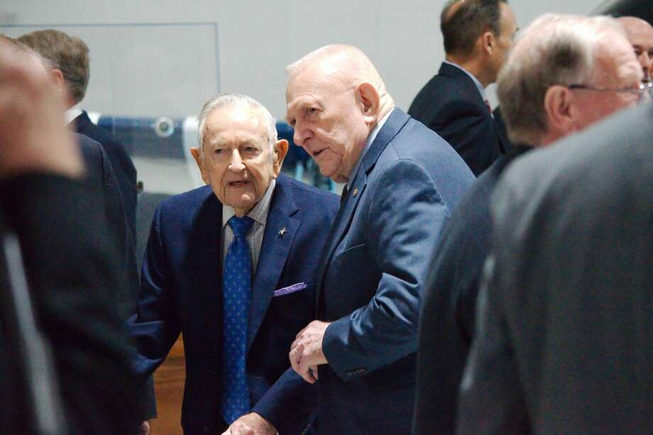 Current Texas Hall of Fame inductee Christofer Kraft, left, chats with former Flight Director and 2016 Hall Of Fame inductee Gene Kranz before the Texas Aviation Hall of Fame 2019 luncheon induction ceremony at Lone Star Flight Museum Friday, Apr 12. Photo: Kirk Sides/Staff Photographer