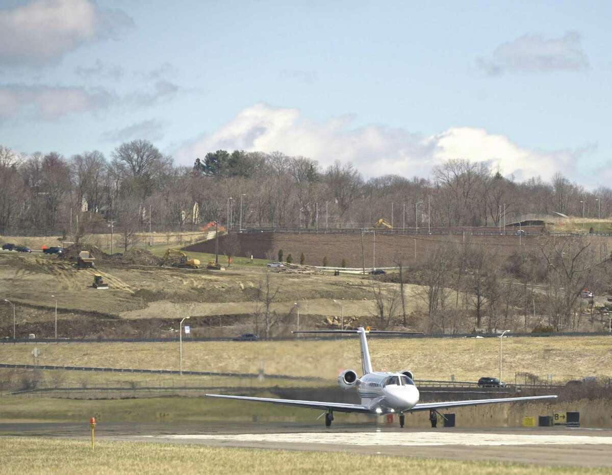 A jet takes off from Danbury Airport. The airport has safety concerns after reports of a drone being flown in their air space this past weekend. Wednesday, April 10, 2019, in Danbury, Conn.