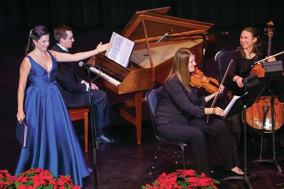 """Soprano Sofia Troncoso with members of the Opera Edwardsville Orchestra at nonprofit Opera Edwardsville's sold out inaugural concert, """"Opera Edwardsville presents Christmas at the Wildey,"""" last Dec. 22. Photo: For The Intelligencer/The Telegraph"""