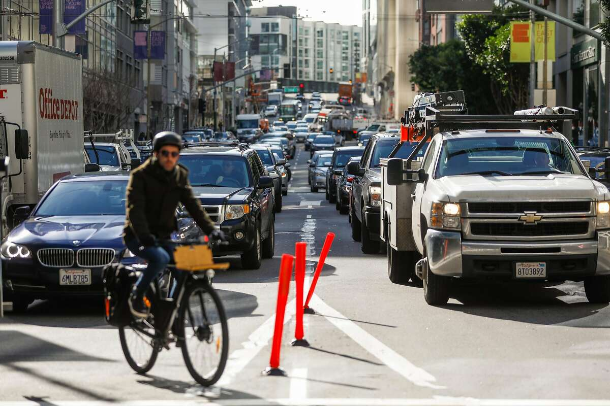 Traffic congestion is seen on Fremont Street during the morning commute in San Francisco , California, on Tuesday, March 26, 2019.