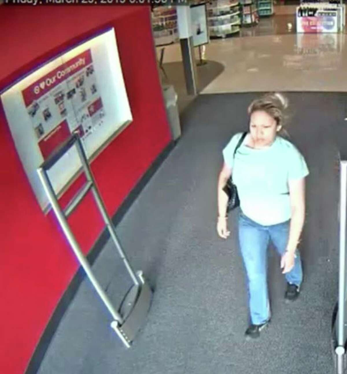 Authorities said this woman is wanted for questioning in a theft case.