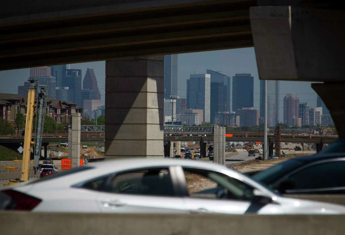 Traffic rolls by on Loop 610 as work continues on the new tollway in the center of Texas 288 on March 27, 2019 in Houston.