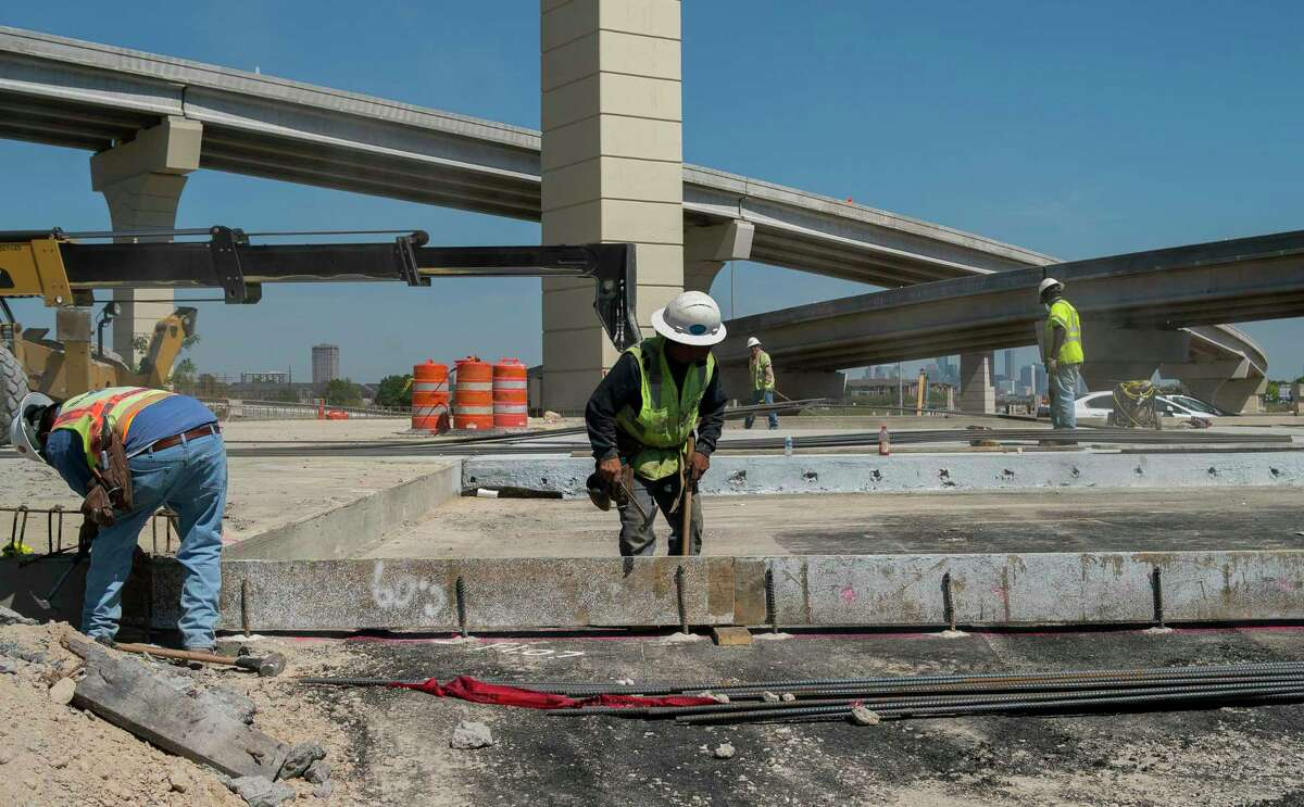 Work on the new tollway along Texas 288 continues where it crosses Loop 610 on March 27, 2019 in Houston.