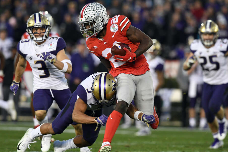 Former Ohio State wide receiver Parris Campbell will be visiting the Seahawks this week ahead of the draft later this month, acording to a report Friday from the NFL Network.  Photo: Chris Williams/Iconsportswire Via Getty Imges
