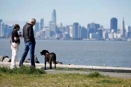 Eliron Hamburger (left) and John Norheim admire the crystal clear view of San Francisco with Hamburger's dog Tashi at Point Isabel Regional Shoreline in Richmond, Calif. on Friday, April 12, 2019. Bay Area temperatures are expected to rise into the 70's over the weekend.