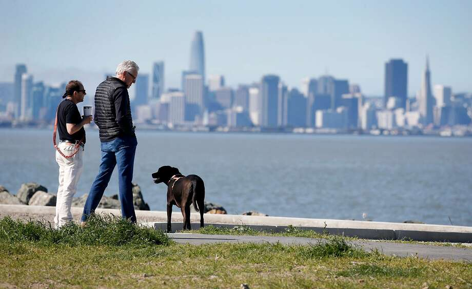 Eliron Hamburger (left) and John Norheim admire the crystal clear view of San Francisco with Hamburger's dog Tashi at Point Isabel Regional Shoreline in Richmond, Calif. on Friday, April 12, 2019. Bay Area temperatures are expected to rise into the 70's over the weekend. Photo: Paul Chinn, The Chronicle