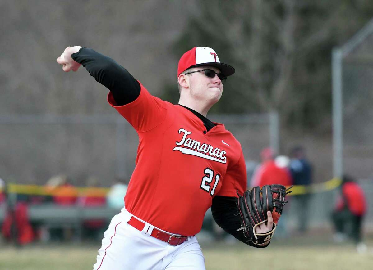 Tamarac's Dalton Maxon winds up for a pitch during a game against Mechanicville on Friday, April 12, 2019 at Tamarac High School in Clums Corners, NY. (Phoebe Sheehan/Times Union)