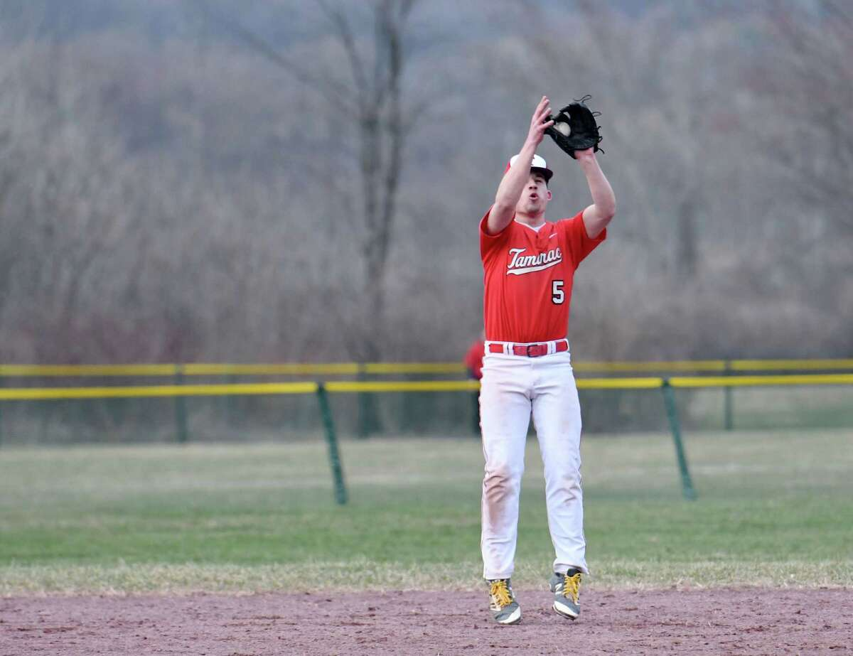Tamarac's Jake Danaher catches a fly ball during a game against Mechanicville on Friday, April 12, 2019 at Tamarac High School in Clums Corners, NY. (Phoebe Sheehan/Times Union)