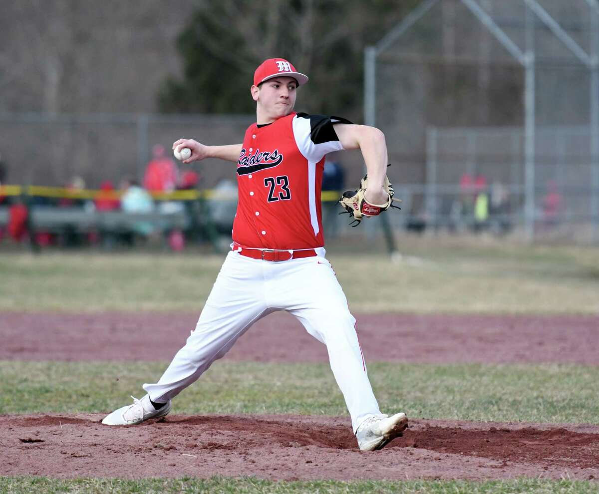 Mechanicville's Jacob Popiel winds up for a pitch during a game against Tamarac on Friday, April 12, 2019 at Tamarac High School in Clums Corners, NY. (Phoebe Sheehan/Times Union)