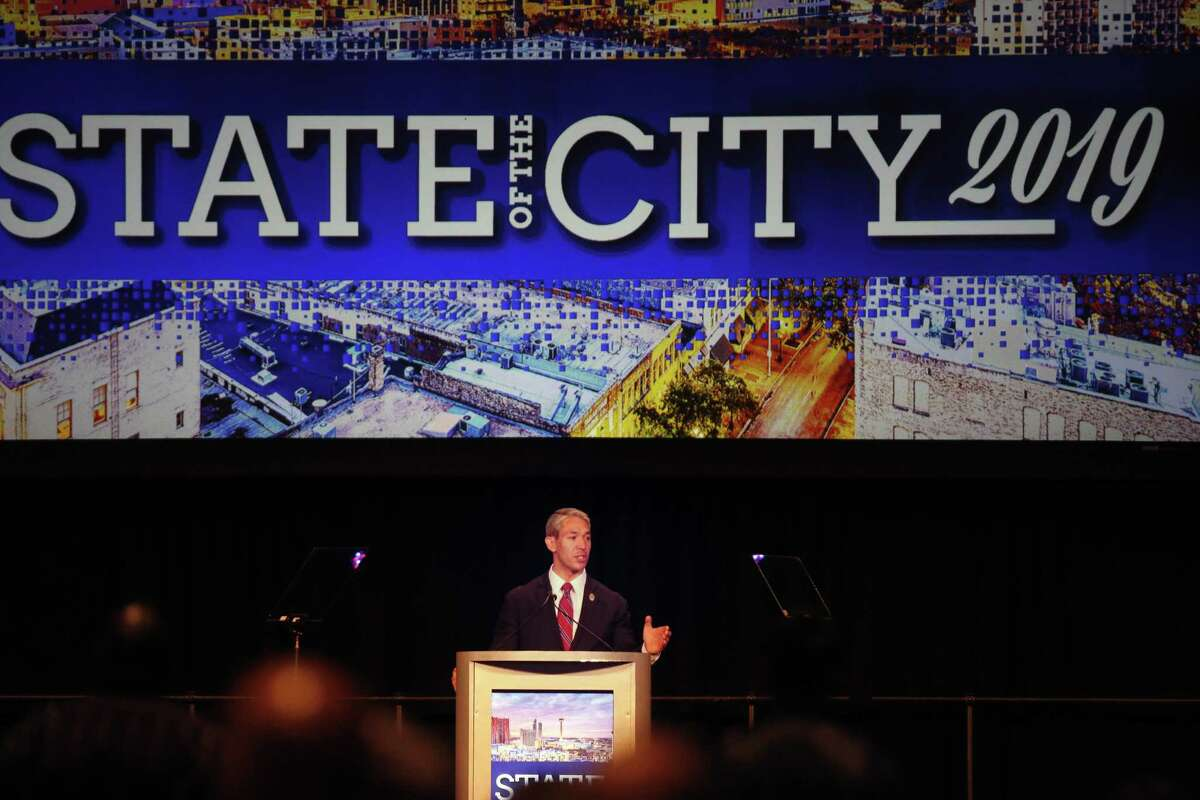 """Mayor Ron Nirenberg delivers his 2019 State of the City address to the Chamber of Commerce at Convention Center's """"Stars at Night"""" ballroom on Friday, April 12 , 2019."""