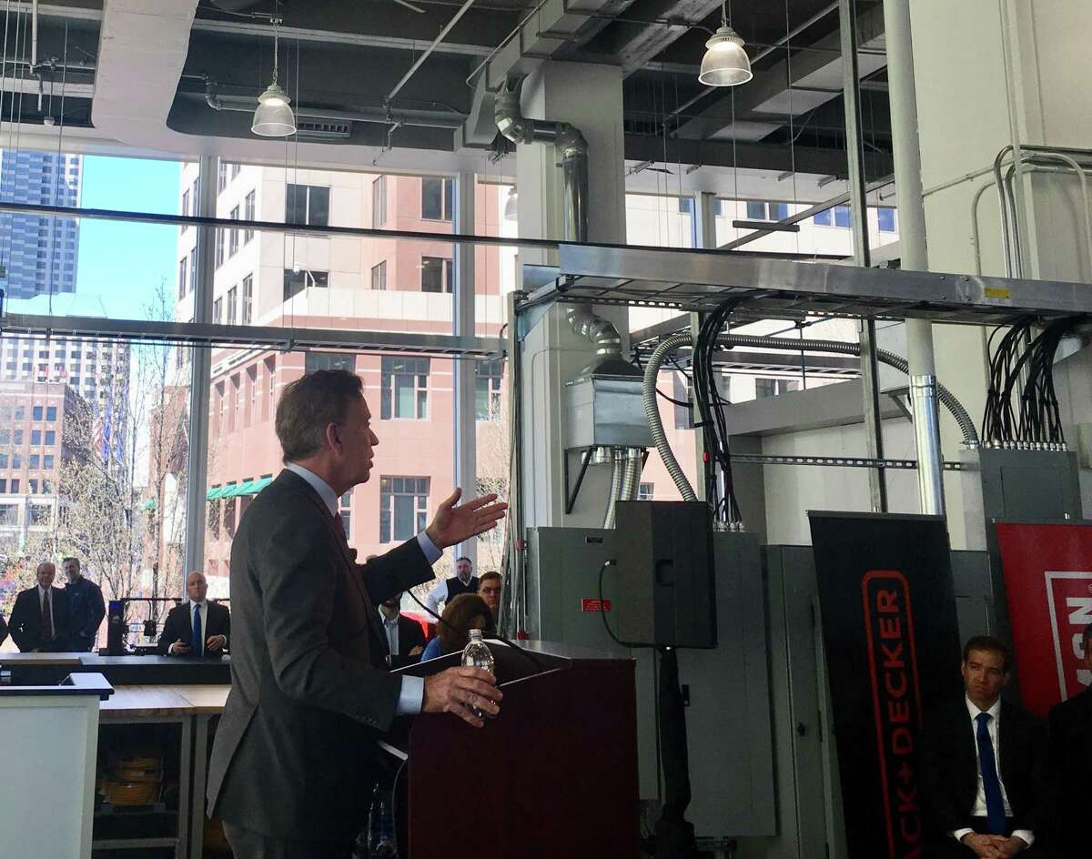 Gov. Ned Lamont hailed the new Stanley Black & Decker Manufactory 4.0 center in downtown Hartford, where engineers will work with factory managers from around the world on advanced analytics and workflow design. The location had its grand opening Thursday, April 11, 2019.