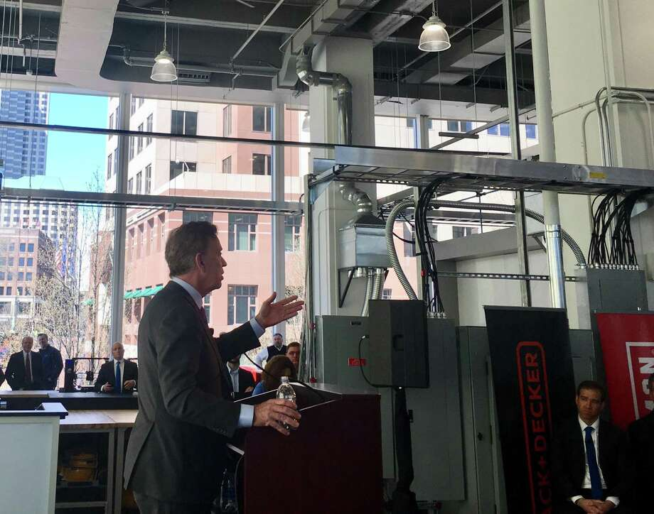 Gov. Ned Lamont hailed the new Stanley Black & Decker Manufactory 4.0 center in downtown Hartford, where engineers will work with factory managers from around the world on advanced analytics and workflow design. The location had its grand opening Thursday, April 11, 2019. Photo: Dan Haar/Hearst Connecticut Media