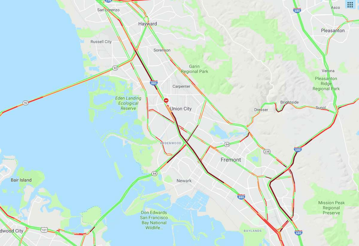 Traffic backed up in the East Bay after a crash shut down all northbound lanes of I-880 Friday afternoon.