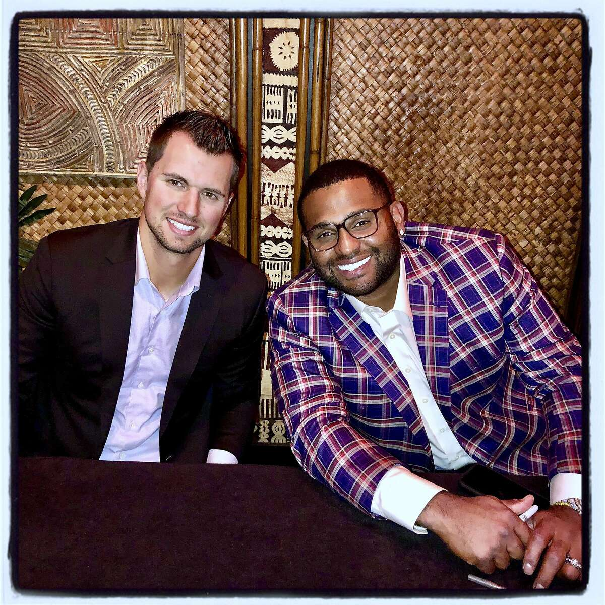 Giants players Joe Panik (left) and Pablo Sandoval at the Play Ball Lunch. March 29, 2019.