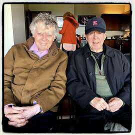 St. Ignatius College Prep alum and loyal Giants fans Gordon Getty (left) and John Mallen at Opening Day. April 5, 2019.