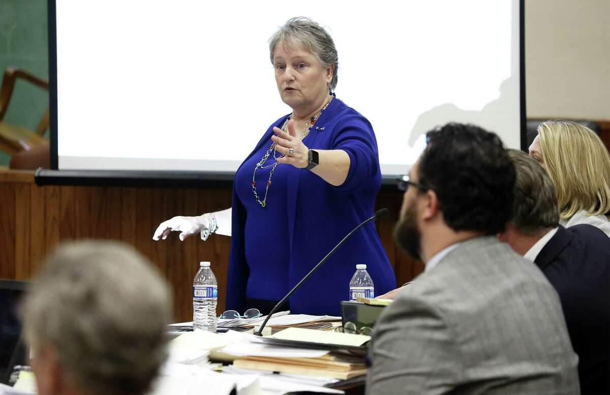 Attorney for the guardians of Charlie Thrash, Laura Cavaretta makes a point during preliminary discussions during a hearing in Judge Oscar Kazen's courtroom at the Bexar County Courthouse on April 10, 2019.