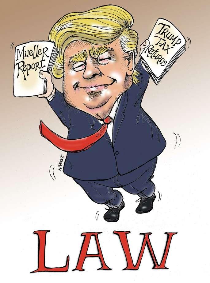 This artwork by Jennifer Kohnke refers to Donald Trump behaving as though he were above the law. Photo: Jennifer Kohnke / Tribune Content Agency