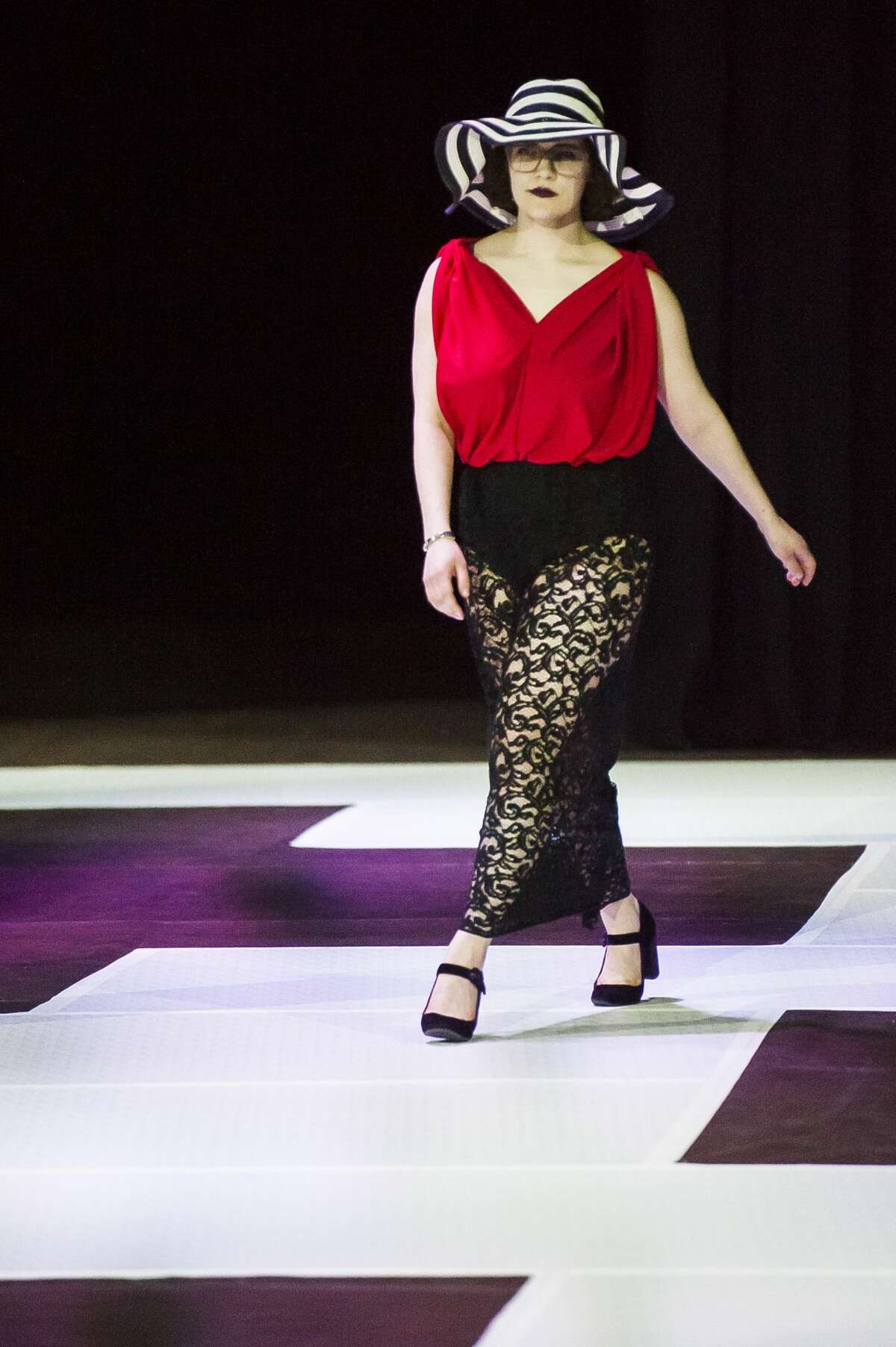 Northwood student Emily Williams models one of her designs during the 2019 Northwood University Style Show on Friday, April 12, 2019 at Northwood. (Katy Kildee/kkildee@mdn.net)
