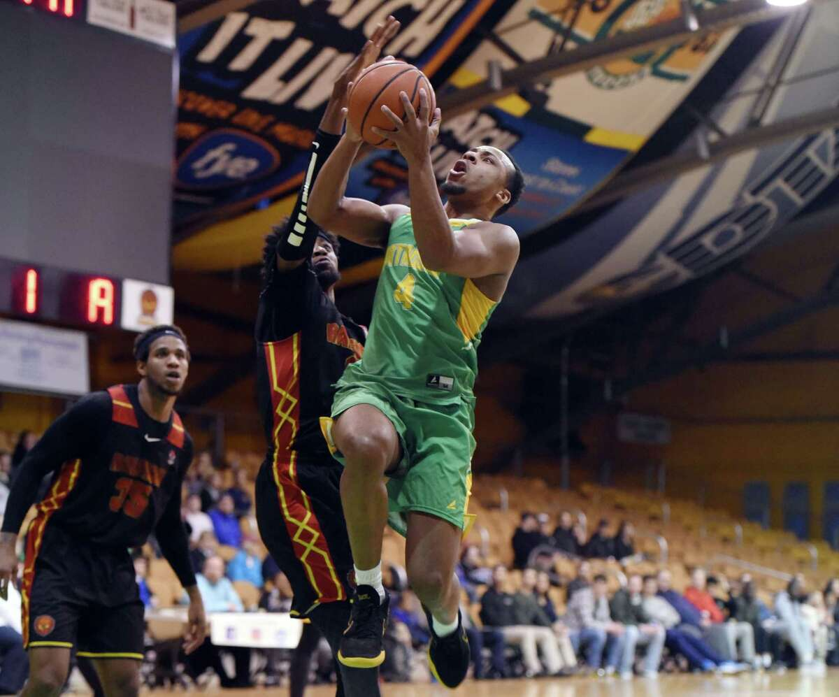 Albany Patroons guard Shadell Millinghaus goes in for a layup during a game against Raleigh on Friday, April 12, 2019 at the Washington Avenue Armory in Albany, NY. (Phoebe Sheehan/Times Union)