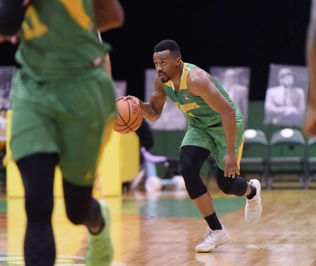 Albany Patroons guard Joshua Cameron dribbles the ball down the court during a game against Raleigh on Friday, April 12, 2019 at the Washington Avenue Armory in Albany, NY. (Phoebe Sheehan/Times Union)