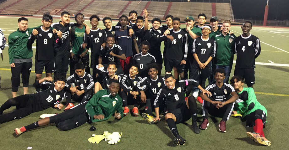 The Sharpstown boys soccer team defeated Texas City 1-0 to advance to its second Region III-5A tournament in three years. The Apollos improved to 19-2-2. Photo: Sharpstown High School