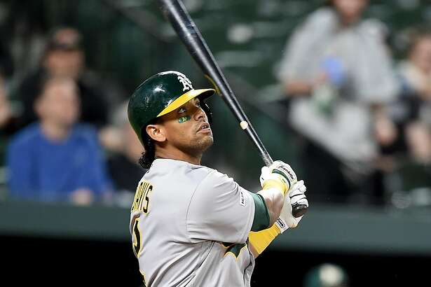 BALTIMORE, MD - APRIL 10: Khris Davis #2 of the Oakland Athletics hits a home run in the seventh inning against the Baltimore Orioles at Oriole Park at Camden Yards on April 10, 2019 in Baltimore, Maryland. (Photo by Greg Fiume/Getty Images)