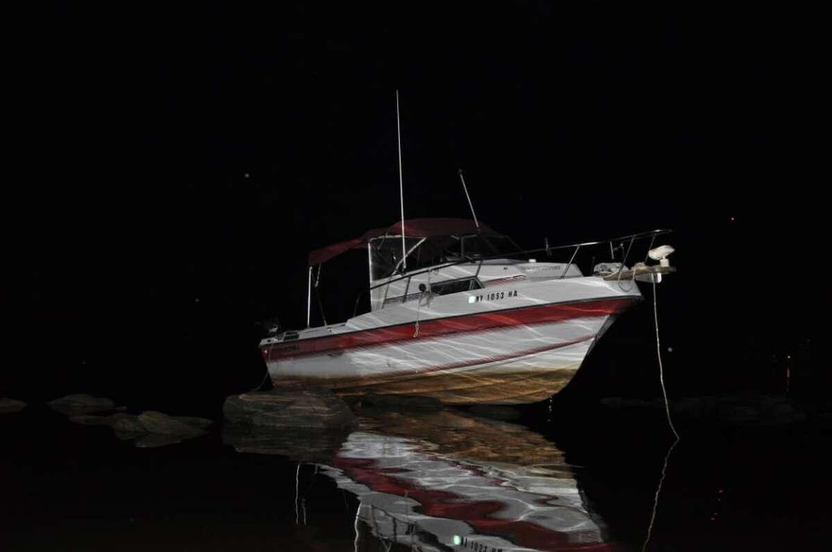 A 21-foot boat was run aground late Sunday night near the Tri-City Yacht Club. (Coeymans police)