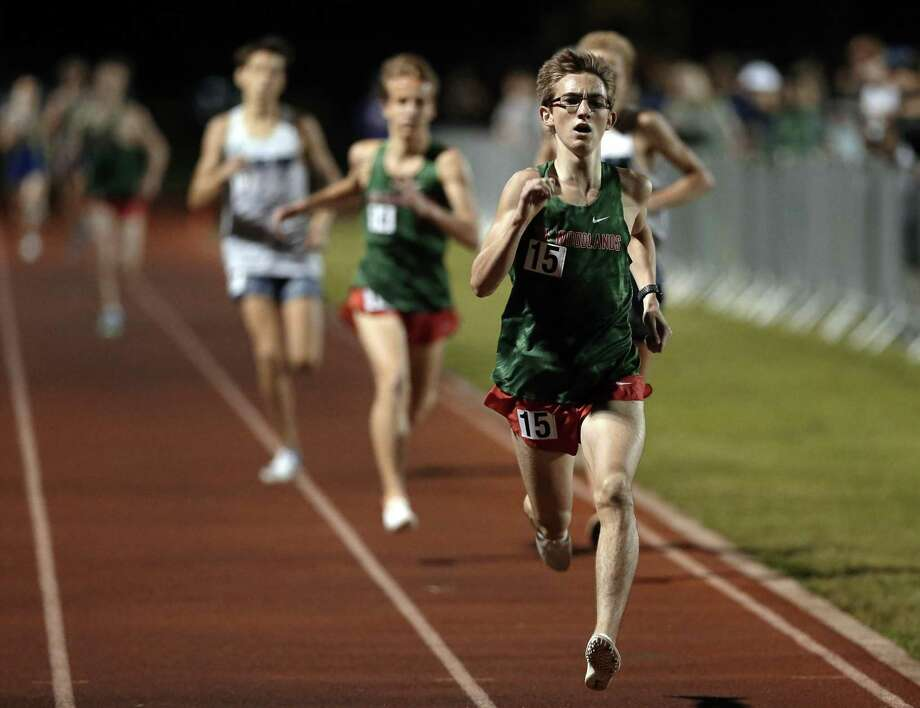 Spencer Cardinal of The Woodlands wins the Mens 1600 Meter Run during the District 15-6A Track and Field Championships, held at the Woodlands High School Friday, Apr. 12, 2019 in The Woodlands, TX. Photo: Michael Wyke, Houston Chronicle / Contributor / © 2019 Houston Chronicle