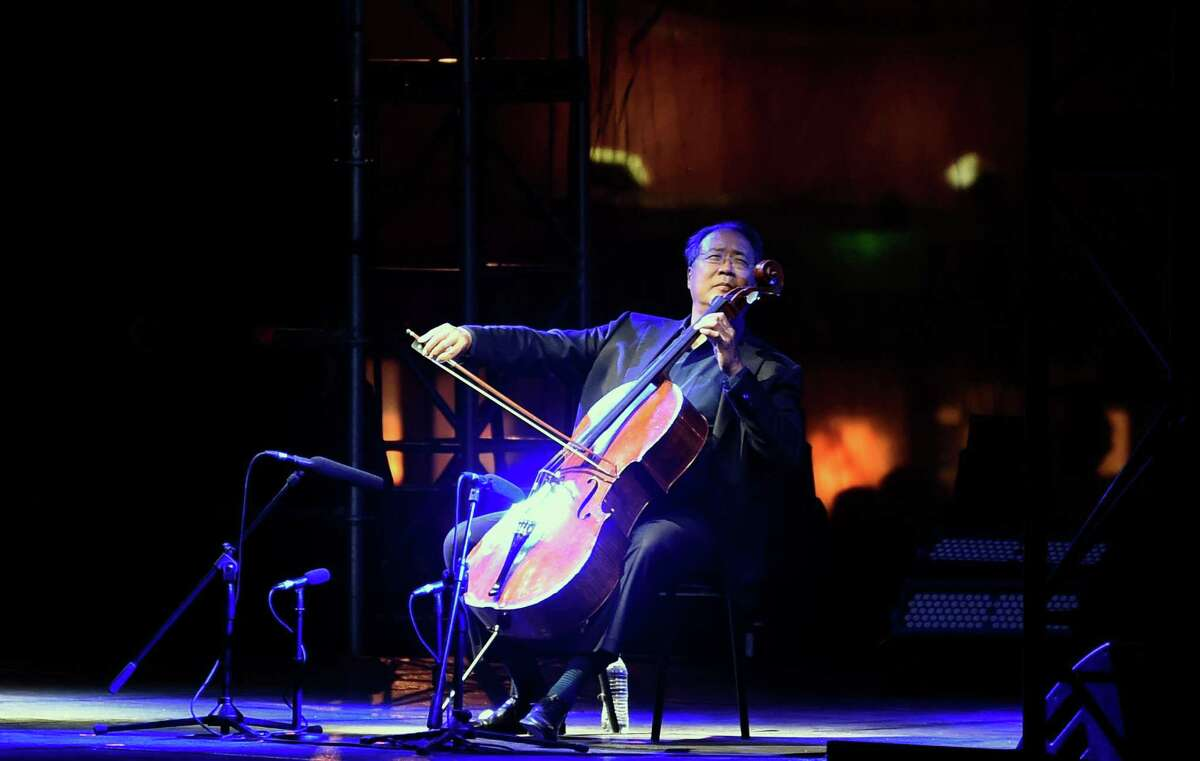 Chinese-US cellist Yo-Yo Ma performs during a concert called