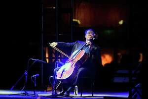 "Chinese-US cellist Yo-Yo Ma performs during a concert called ""The Bach Project"" at the Monumento a la Revolucion in Mexico City on March 26, 2019. - Yo-Yo Ma sets out to perform Johann Sebastian Bach's six suites for solo cello in one sitting, in 36 locations around the world. (Photo by ALFREDO ESTRELLA / AFP)ALFREDO ESTRELLA/AFP/Getty Images"