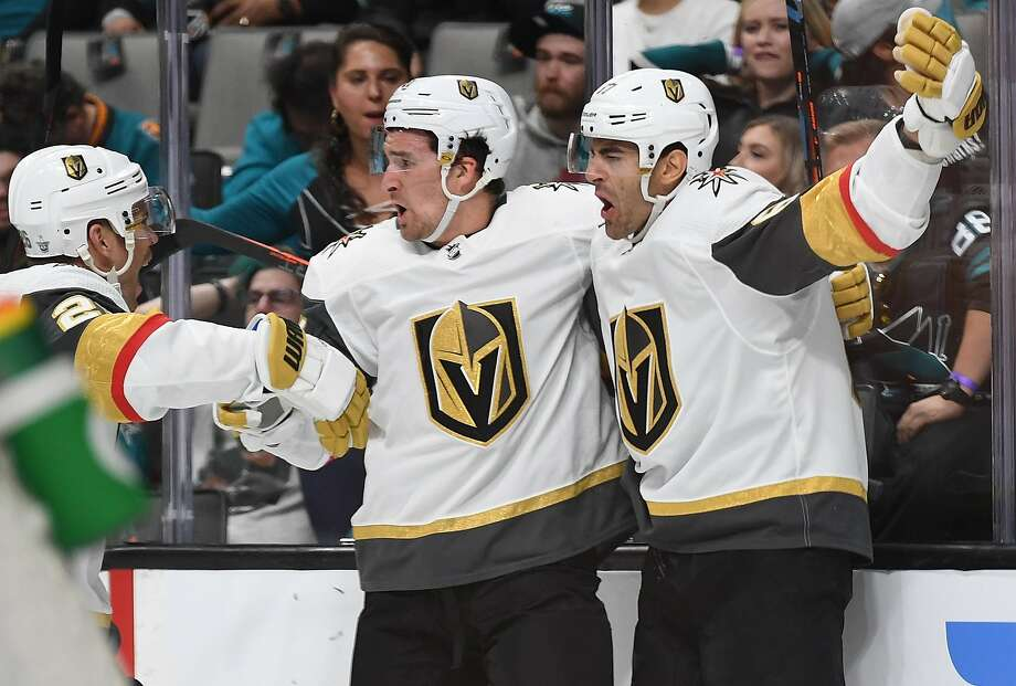 SAN JOSE, CA - APRIL 12:  Max Pacioretty #67, Mark Stone #61 and Cody Eakin #21 of the Vegas Golden Knights celebrate after Pacioretty scored a short handed goal against the San Jose Sharks during the first period in Game Two of the Western Conference First Round during the 2019 NHL Stanley Cup Playoffs at SAP Center on April 12, 2019 in San Jose, California.  (Photo by Thearon W. Henderson/Getty Images) Photo: Thearon W. Henderson / Getty Images